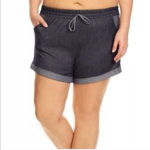 Pants - Plus sized soft denim shorts